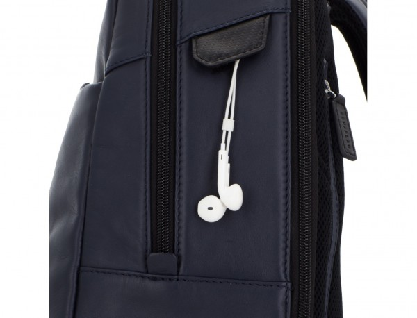 leather laptop backpack blue detail