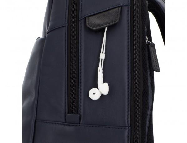 mochila de cuero para portátil azul detalle