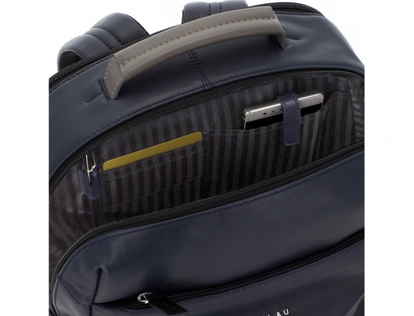 leather laptop backpack blue pockets