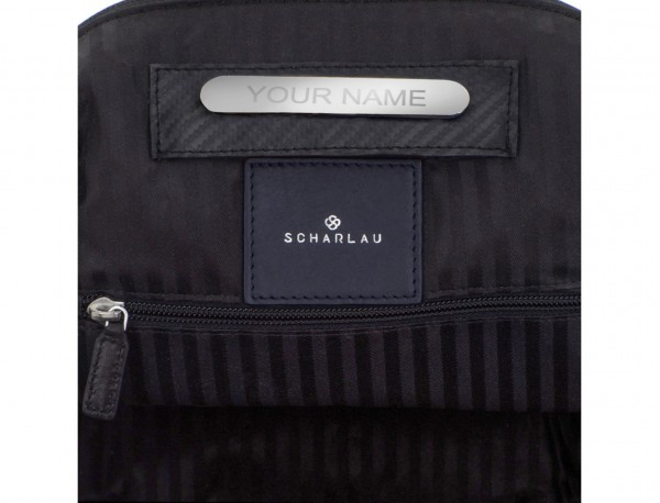 mochila de cuero para portátil azul personalizada