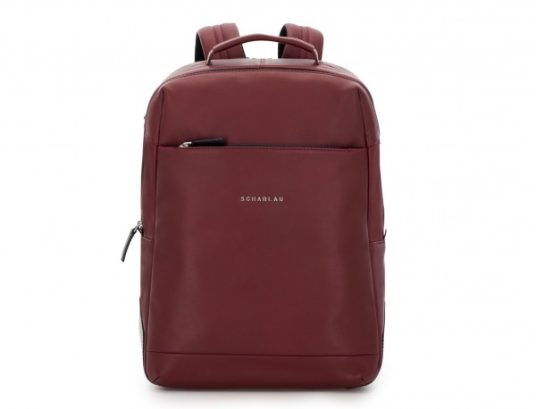 leather laptop backpack burgundy front