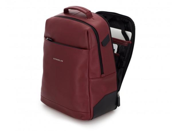 leather laptop backpack burgundy side