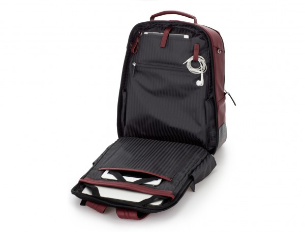 leather laptop backpack burgundy open
