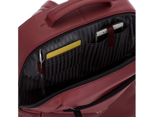 leather laptop backpack burgundy pockets