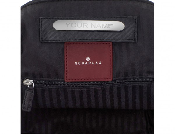 mochila de cuero para portátil burdeos personalizada