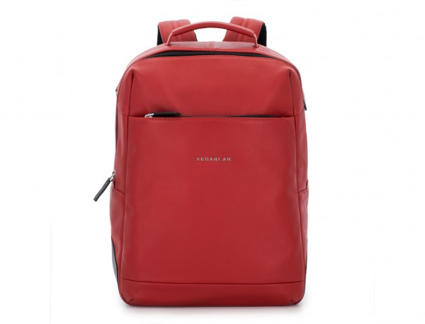 leather laptop backpack red front