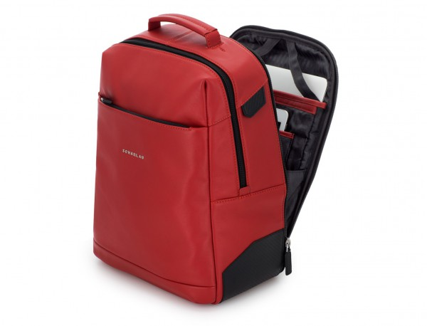 leather laptop backpack red side