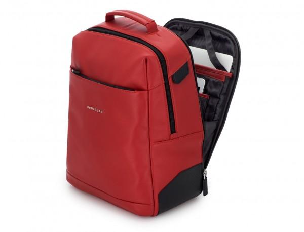 mochila de cuero para portátil roja lado
