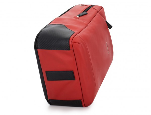 leather laptop backpack red base