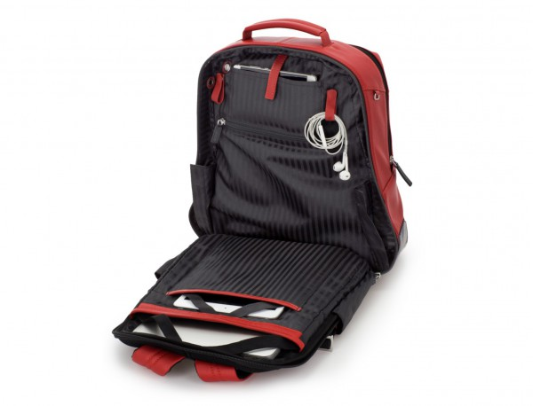 leather laptop backpack red open