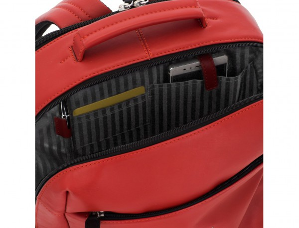 leather laptop backpack red pockets