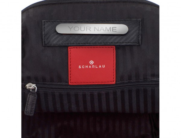 leather laptop backpack red personalized