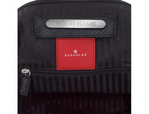 mochila de cuero para portátil roja personalizada