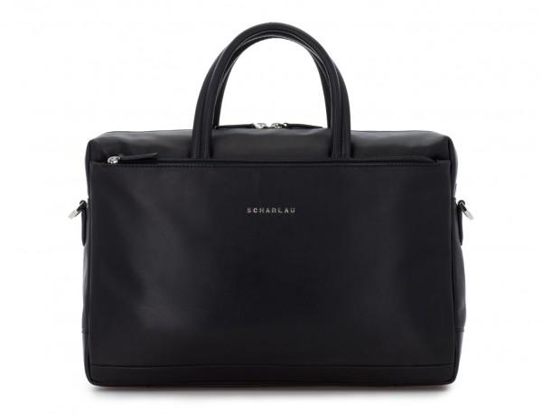 leather laptop bag black front