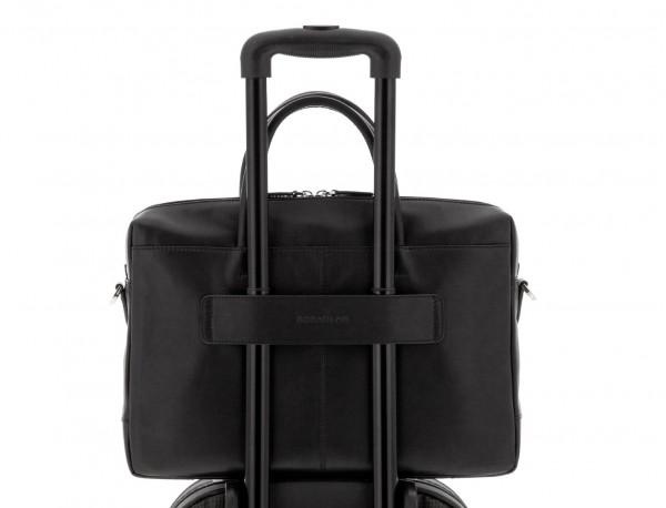 leather laptop bag black trolley