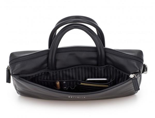 leather laptop bag black open