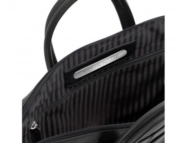 leather laptop bag black plate