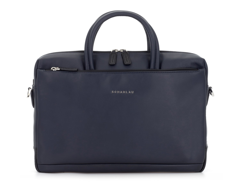 leather laptop bag blue front