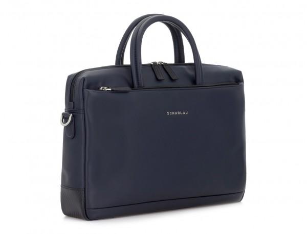 maletín de piel azul lado