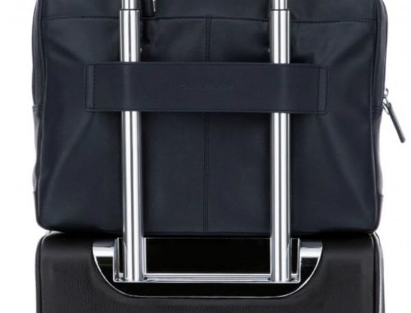 maletín de piel azul trolley