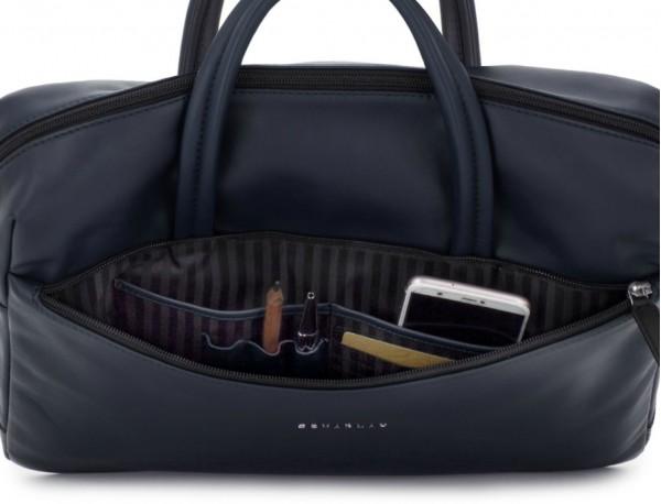 maletín de piel azul interior