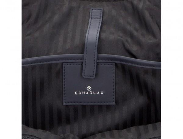 maletín de piel azul logo