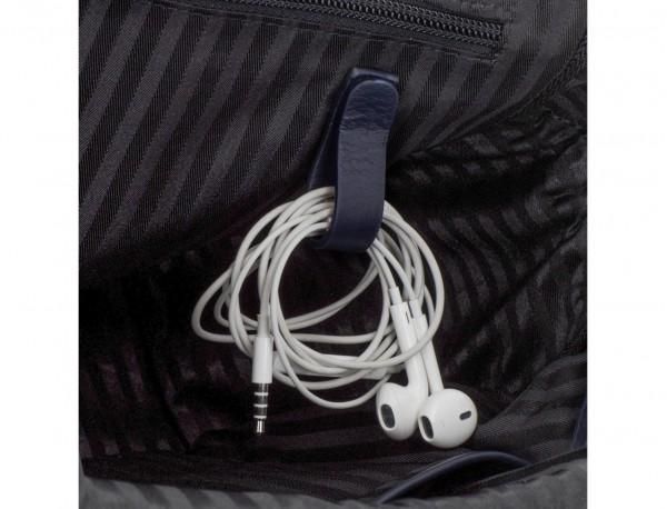 maletín de piel azul cables
