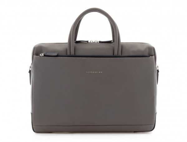 leather laptop bag gray front