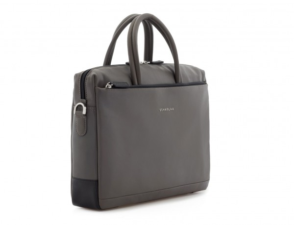 leather laptop bag gray side