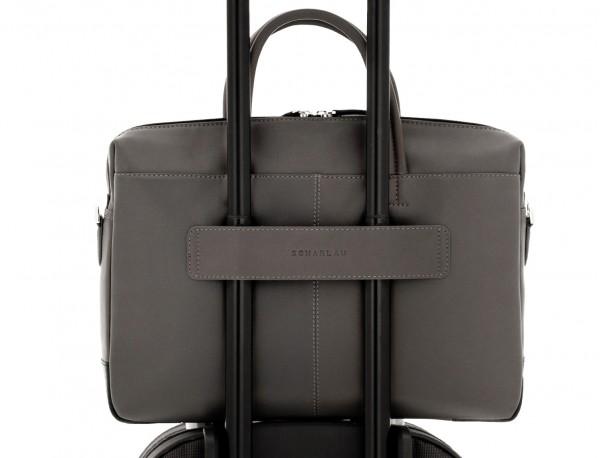 maletín de piel gris trolley
