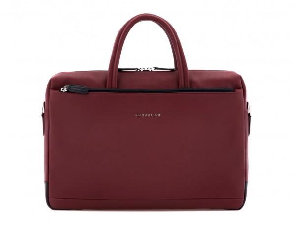 leather laptop bag burgundy front