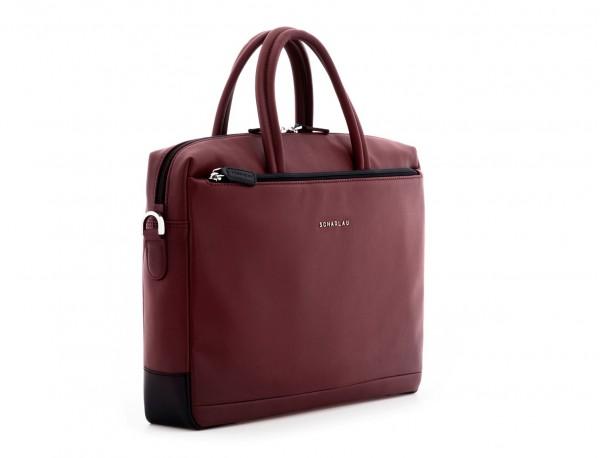 leather laptop bag burgundy side
