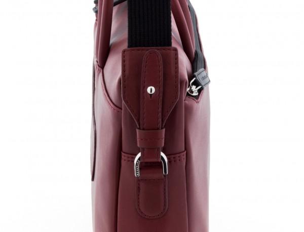 leather laptop bag burgundy detail