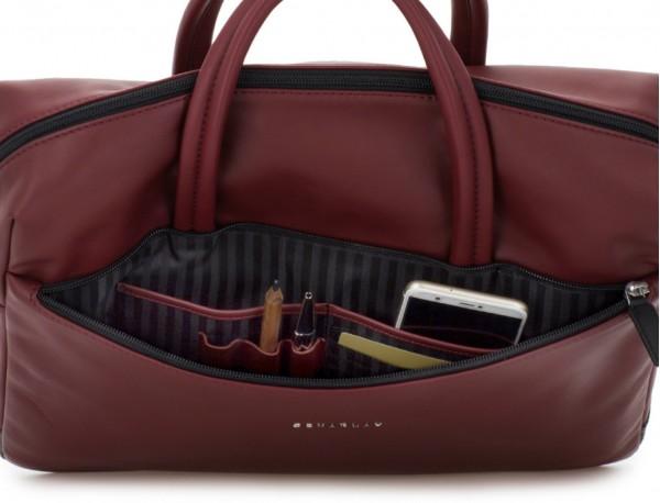 maletín de piel burdeos bolsillos