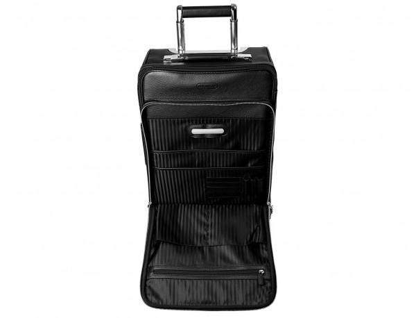 maleta de viaje de cuero tamaño cabina placa personalizada