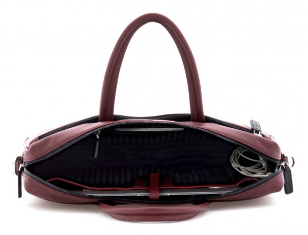 leather laptop bag burgundy inside