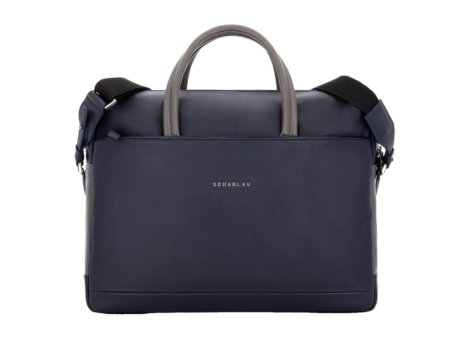 large leather briefbag in blue and gray front