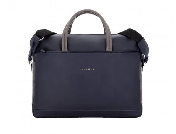 maletín grande de piel azul y gris frontal