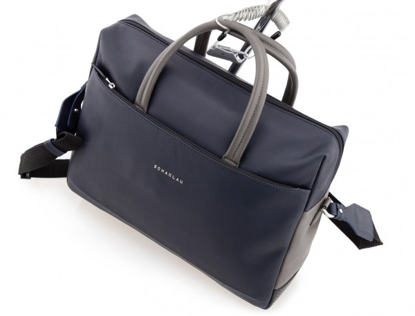 large leather briefbag in blue and gray cable