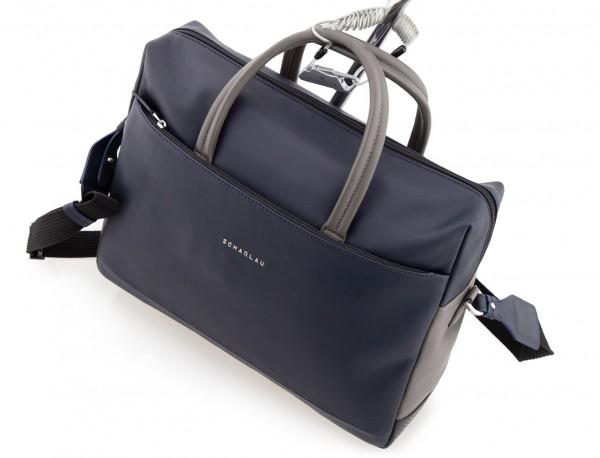 maletín grande de piel azul y gris cable antirrobo