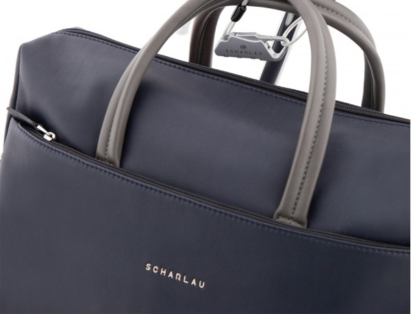 large leather briefbag in blue and gray detail