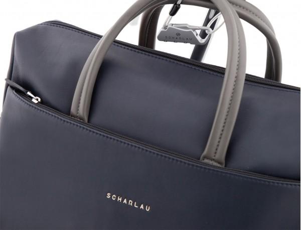 maletín grande de piel azul y gris asas