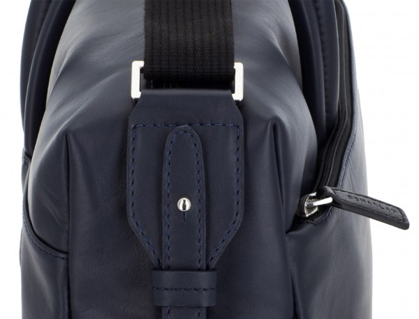 large leather briefbag in blue and gray strap