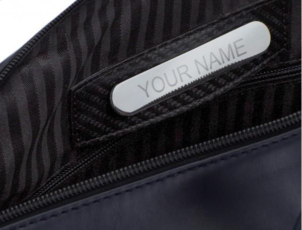 maletín grande de piel azul y gris placa personalizada