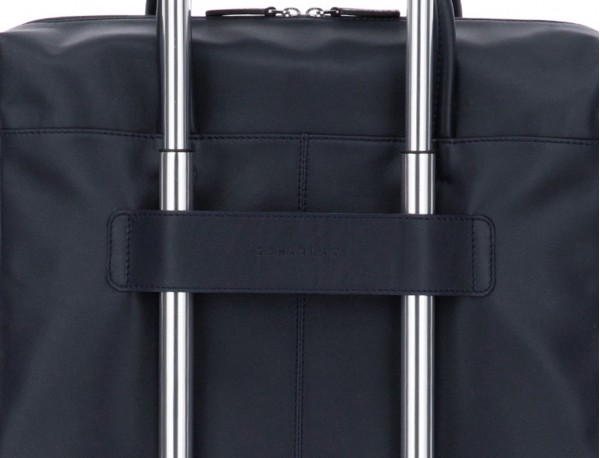 large leather briefbag in blue and gray trolley