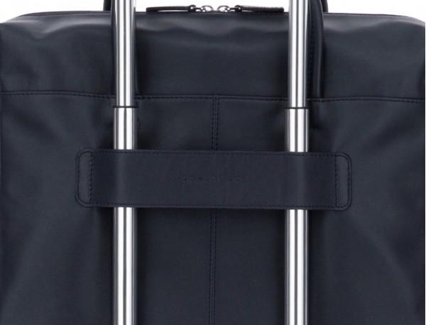 maletín grande de piel azul y gris trolley