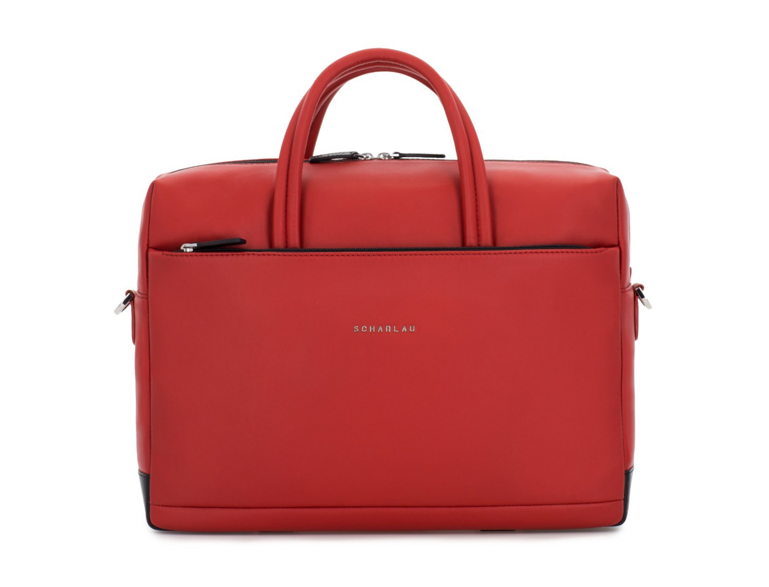 large leather briefbag in red front