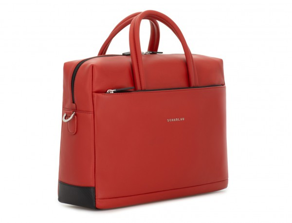 large leather briefbag in red side