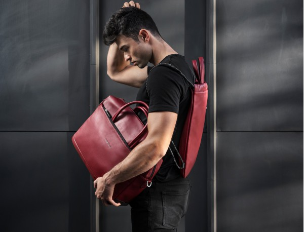 large leather briefbag in red model