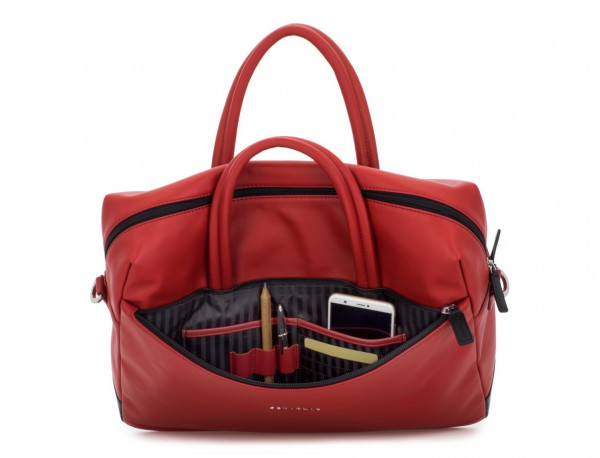 large leather briefbag in red inside